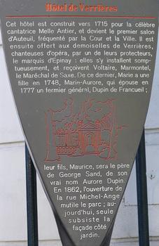 Paris 16SUP>ème arrondissement - Hôtel de Verrières - Panneau d'information