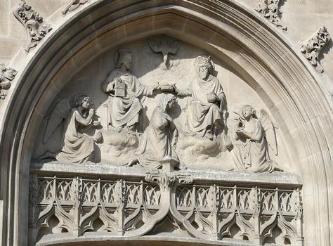 Paris 18ème arrondissement - Eglise Saint-Bernard-de-la-Chapelle - Tympan du portail du bras gauche du transept : Paris 18 ème arrondissement - Eglise Saint-Bernard-de-la-Chapelle - Tympan du portail du bras gauche du transept