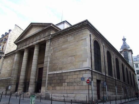 Paris - 2 ème arrondissement - Eglise Notre-Dame-de-Bonne-Nouvelle - Ensemble avec la tour-clocher construite au 17 ème siècle