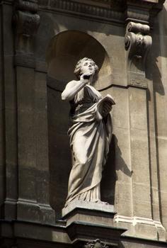 Opéra comique - Façade place Boieldieu - Sculpture représentant la Poésie par Ernest Guilbert
