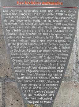 Paris 3 ème arrondissement - Archives nationales - Panneau d'information
