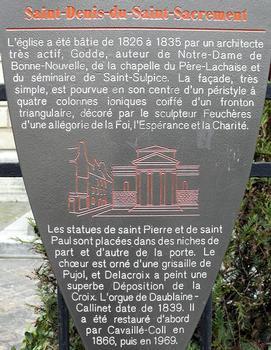 Paris 3ème arrondissement - Eglise Saint-Denys-du-Saint-Sacrement - Panneau d'information : Paris 3 ème arrondissement - Eglise Saint-Denys-du-Saint-Sacrement - Panneau d'information