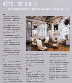 Paris 4ème arrondissement - Hôtel de Sully - Panneau sur la restauration de l'appartement de la duchesse : Paris 4 ème arrondissement - Hôtel de Sully - Panneau sur la restauration de l'appartement de la duchesse
