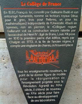 Collège de France, Paris. Information plaque
