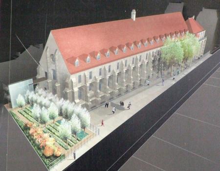 Paris - Collège des Bernardins (24 rue de Poissy) - Le bâtiment des moines et la sacristie (ancienne caserne de pompiers) - Image de synthèse de l'état après restauration