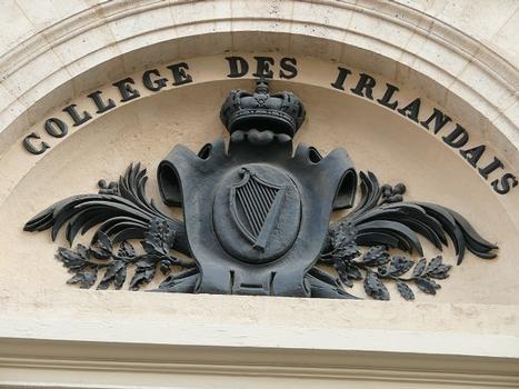 Paris - 5ème arrondissement - Collège des Irlandais - Fronton de la porte