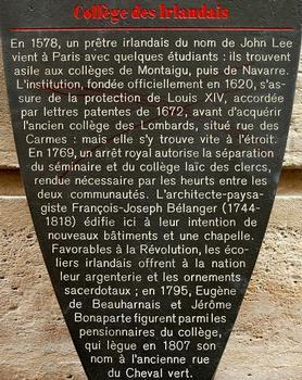 Paris - 5ème arrondissement - Collège des Irlandais - Panneau d'information