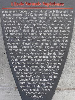 Paris - 5 ème arrondissement - Ecole Normale Supérieure - Panneau d'information