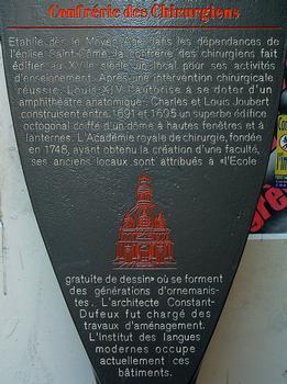 Paris - 5, rue de l'Ecole-de-Médecine - Ancien amphithéâtre d'anatomie de la confrérie des chirurgiens - Panneau d'information