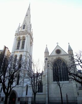 Paris 8 ème arrondissement - Cathédrale américaine de la Sainte-Trinité sur l'avenue George V par l'architecte britannique George-Edmond Street