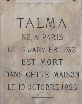 Paris 9ème arrondissement - Hôtel Talma - Panneau commémoratif