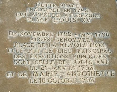 Place de la Concorde, Paris Plaque commémorative