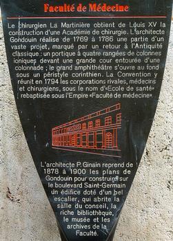 Paris - Université René Descartes (ancienne académie de chirurgie, faculté de médecine) - Panneau d'information