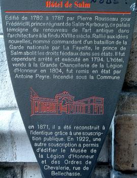 Paris - Hôtel de Salm - Panneau d'information
