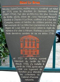 Hôtel Le Brun, Paris Information plaque.