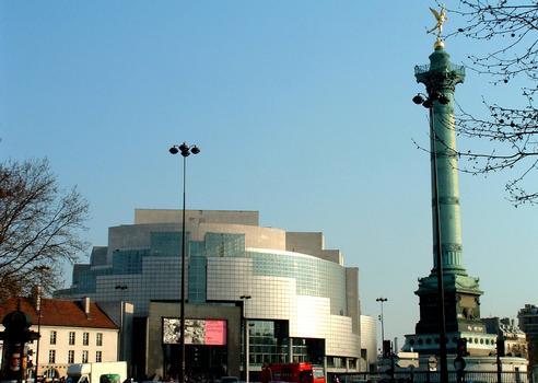 Paris - Place de la Bastille - Opéra Bastille et colonne de Juillet