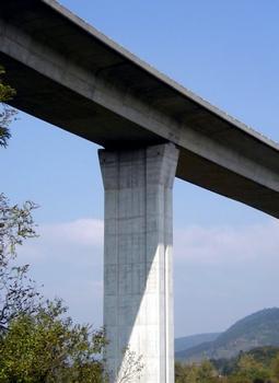 Viaduc de Poncin (A40) sur l'Ain. Pile