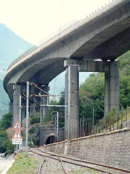 RN90 - Viaduc du Champ du Comte crossing over the Tarentaise Railroad Line at the entrance of the equally named tunnel