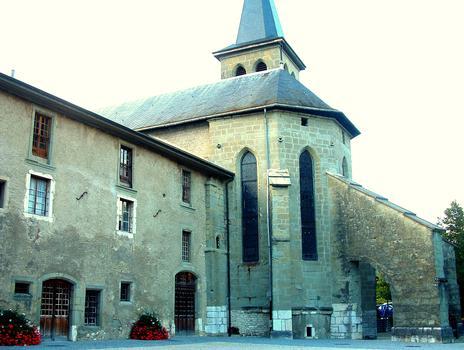 Le-Bourget-du-Lac - Eglise Saint-Laurent - Le chevet de l'église à côté du prieuré