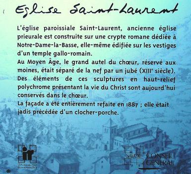 Le-Bourget-du-Lac - Eglise Saint-Laurent - Panneau d'information