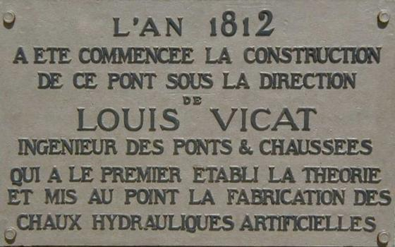 Pont de Louis Vicat in Souillac.Downstream view.Commemorative plaque