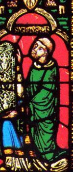 Abt Suger dargestellt in einem Fester der Abtei Saint-Denis