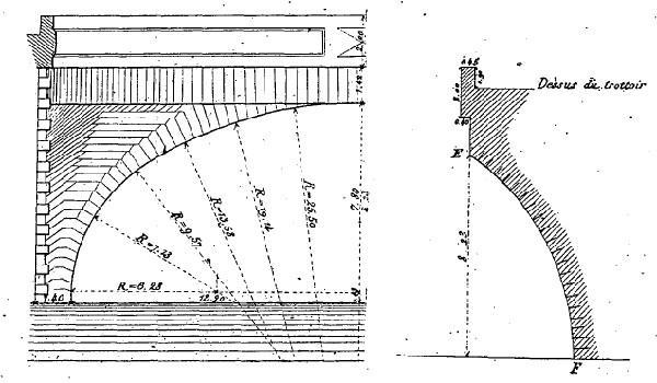 Tours - Pont Wilson - Dessin dans le livre de Chaix sur les ponts - Définition géométrique d'une arche