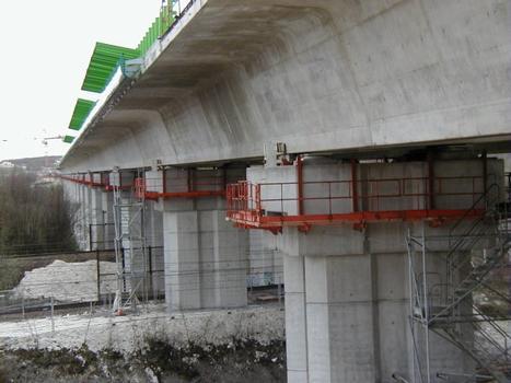 Deuxième Pont Jules Verne à Amiens (2002). Fin du poussage