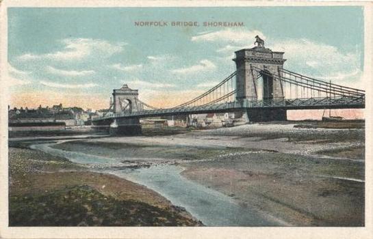 Norfolk Bridge, Shoreham.  Postcard dating from around 1900