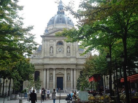 La façade et la coupole de la chapelle de la Sorbonne (Universités de Paris III et Paris IV)