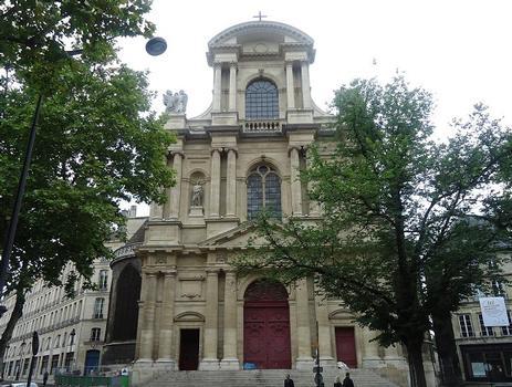 La façade de l'église des Saints-Gervais-et-Protais (Paris 4e)