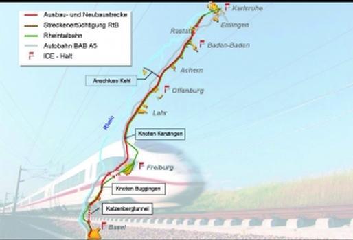 """Neu- und Ausbaustrecke Karlsruhe-Basel, Projektabschnitt """"Katzenbergtunnel"""" (Streckenverlauf)"""