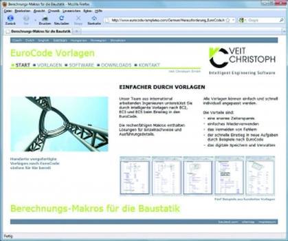 Das Portal www.eurocode-templates.com der Veit Christoph GmbH (Screenshot: VEIT CHRISTOPH)