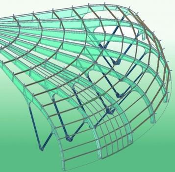 3D-Modell des Stadiondachs, konstruiert mit GRAITEC Advance Steel (Bilder: ETI, Grenoble/Chaix Morel & Partner, Paris)