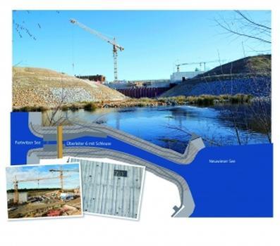 Die Schleuse des Überleiters 6 wird zukünftig einen Wasserunterschied von 2–4 m überbrücken (Foto: HeidelbergCement/Fuchs/LMBV)