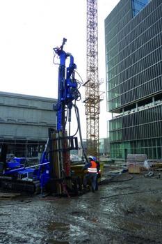 Das Bohrgerät HBR 205 GT wurde bereits im neuen ThyssenKrupp-Quartier in Essen eingesetzt