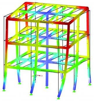 Darstellung der Eigenform Nr. 3 eines räumlichen Stockwerkrahmens in RSTAB