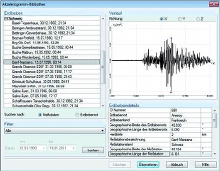 Akzelerogramm-Bibliothek in DYNAM (Grafik/Screenshot: Dlubal)