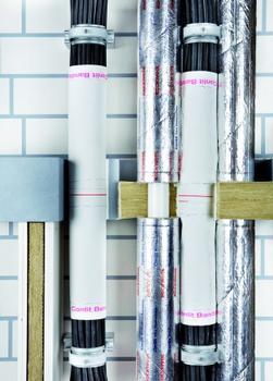 Die Conlit-Kabelabschottung ermöglicht die brandschutztechnische Abschottung von Wand- und Deckendurchführungen