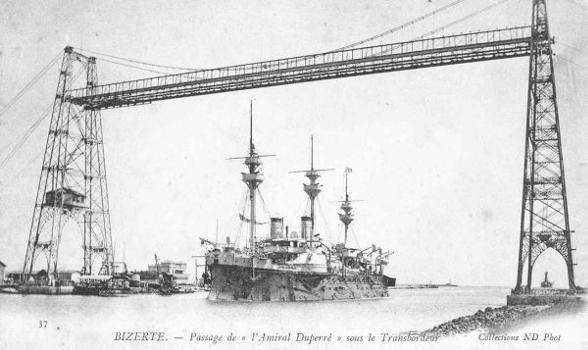 Schwebefähre in Bizerta, ca. 1905 –  (Bild von einer Postkarte und zugeschickt von Daniel Lewis)