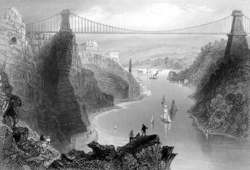 Clifton Suspension Bridge. Contemporary Engraving.