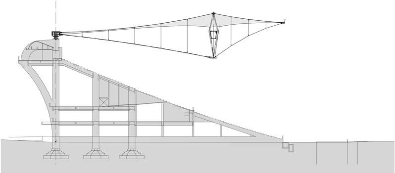 Stade Macaraná - Coupe de la tribune et du nouveau toit