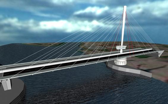 Drehbare Schrägseilbrücke in Bilbao