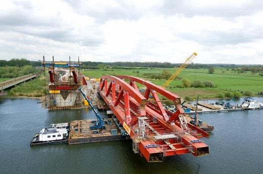 Half on land, half over the water: launching the bridge onto the pontoons from the assembly yard was a difficult balancing act