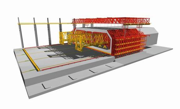 Die Herstellung des dreizelligen Querschnitts erfolgt im Taktschiebeverfahren mittels dreier Tunnelschalungen als horizontales Verschubwerk sowie stationärer Außen- und Bodenschalung