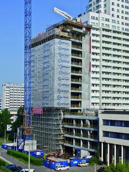 The 70 m high Prosta Tower has 19 floors and 5 basement levels