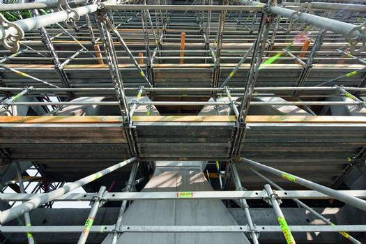 The PERI UP Rosett modular scaffold could be adapted perfectly to suit the complex reinforced concrete structure