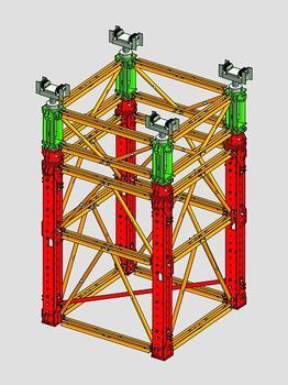 Der VARIOKIT Schwerlastturm von PERI dient als Traggerüst im Großbrücken- und Ingenieurbau. Das neue, modulare System ist komplett mietbar und kann aufgrund vielfältiger Aufbauvarianten optimal an die Anforderungen der Baustelle angepasst werden
