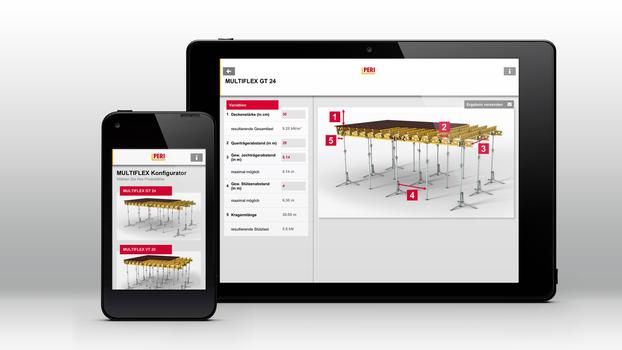 Different apps from PERI provide fast and valuable support during daily construction site operations – among other things, this includes the MULTIFLEX configurator which girder slab formwork utilization can be optimized