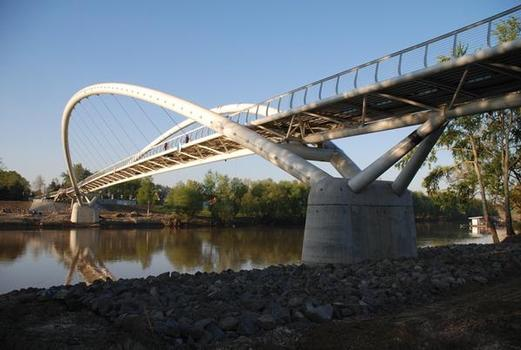 The new bridge for cyclists and pedestrians over the River Tisza in Szolnok, Hungary